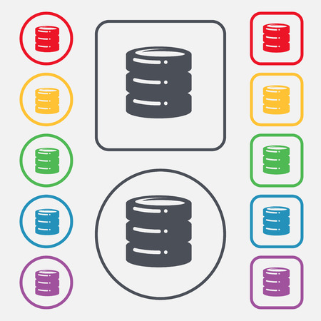 scsi: hard drive date base icon sign. symbol on the Round and square buttons with frame. Vector illustration Illustration