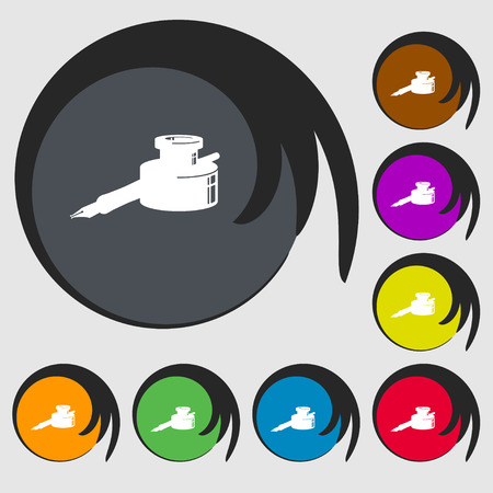 signing papers: pen and ink icon sign. Symbol on eight colored buttons. Vector illustration