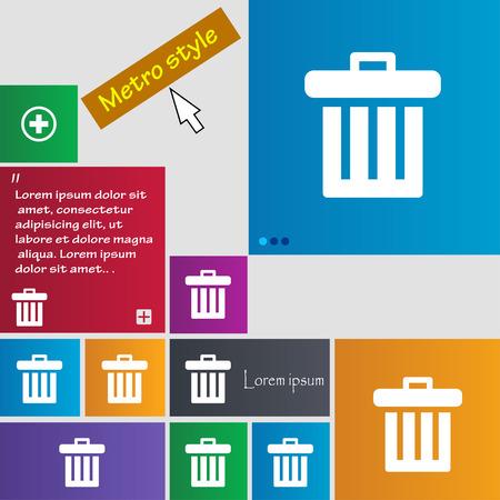 papelera de reciclaje: Papelera de reciclaje icono de signo. botones. Sitio web interfaz modernos botones con el puntero del cursor. Ilustración vectorial