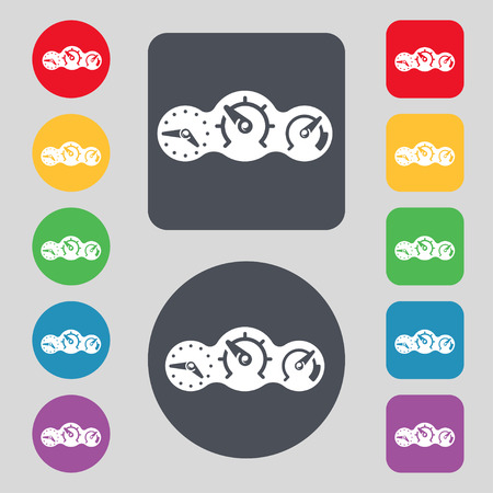 icon buttons: speed, speedometer icon sign. A set of 12 colored buttons. Flat design. Vector illustration