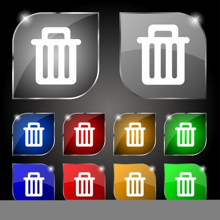papelera de reciclaje: Papelera de reciclaje icono de signo. Conjunto de diez botones de colores con reflejos. Ilustraci�n vectorial