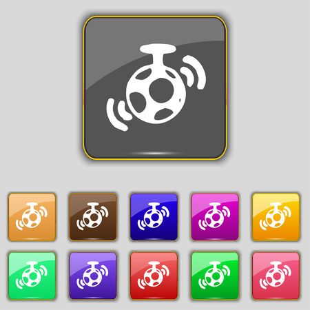 mirror ball: mirror ball disco icon sign. Set with eleven colored buttons for your site. Vector illustration