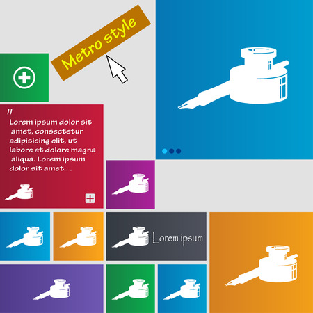 signing papers: pen and ink icon sign. buttons. Modern interface website buttons with cursor pointer. Vector illustration Illustration