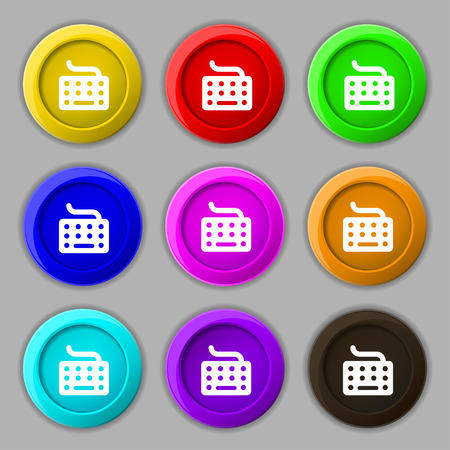 inputting: keyboard icon sign. symbol on nine round colourful buttons. Vector illustration