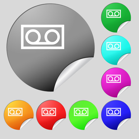 audio cassette: audio cassette icon sign. Set of eight multi colored round buttons, stickers. Vector illustration Illustration