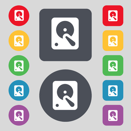 hardware configuration: hard disk icon sign. A set of 12 colored buttons. Flat design. Vector illustration