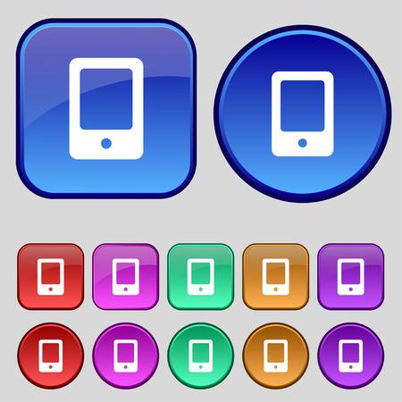 modern palmtop: Tablet icon sign. A set of twelve vintage buttons for your design. Vector illustration