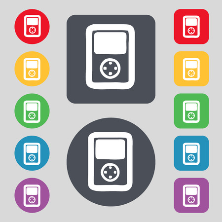 tetris: Tetris, video game console icon sign. A set of 12 colored buttons. Flat design. Vector illustration