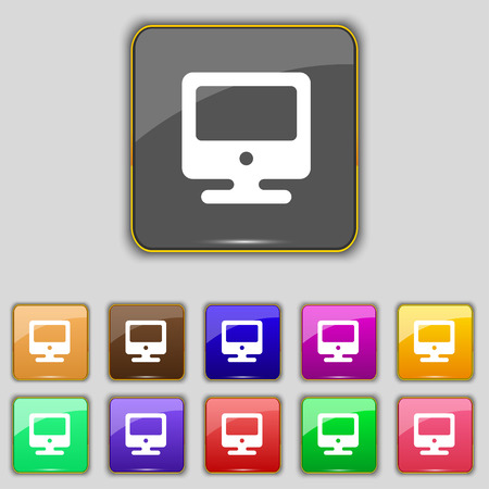 incrustation: monitor icon sign. Set with eleven colored buttons for your site. Vector illustration