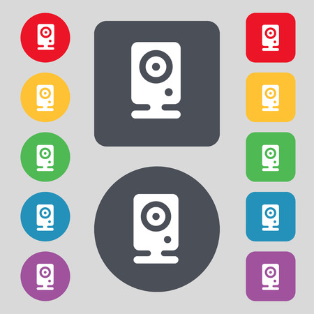 web cam: Web cam icon sign. A set of 12 colored buttons. Flat design. Vector illustration Illustration