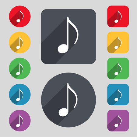 ringtone: musical note, music, ringtone icon sign. A set of 12 colored buttons and a long shadow. Flat design. Vector illustration