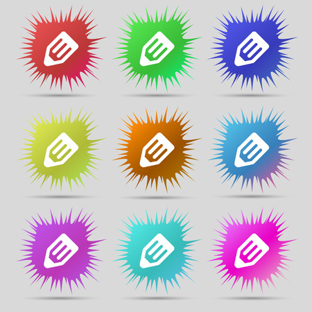secretarial: pencil icon sign. A set of nine original needle buttons. Vector illustration Illustration