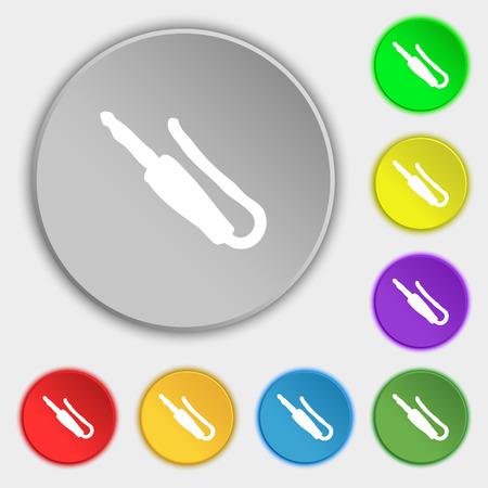 minijack: plug, mini jack icon sign. Symbol on five flat buttons. Vector illustration