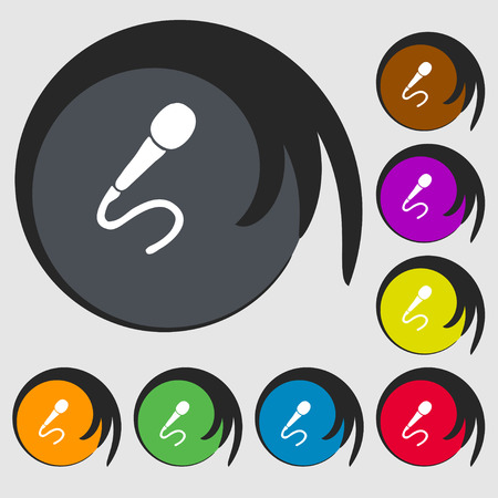 sign symbol: microphone icon sign. Symbol on eight colored buttons. Vector illustration