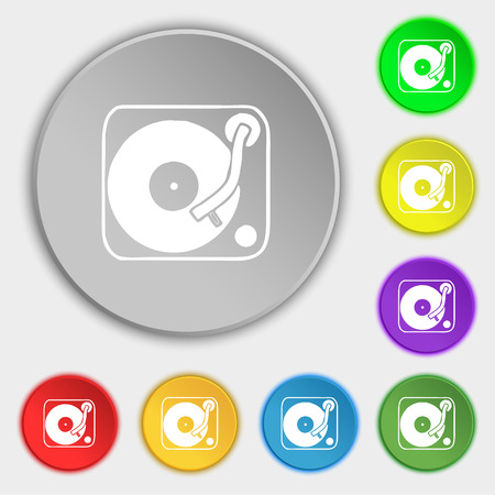 oldies: Gramophone, vinyl icon sign. Symbol on five flat buttons. Vector illustration