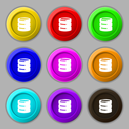 hard drive date base icon sign. symbol on nine round colourful buttons. Vector illustration