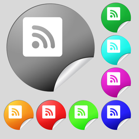 rss feed: RSS feed  icon sign. Set of eight multi colored round buttons, stickers. Vector illustration