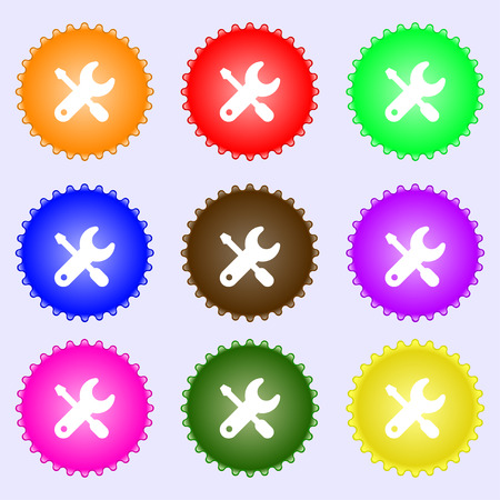 screwdriver, key, settings icon sign. A set of nine different colored labels. Vector illustration Vector