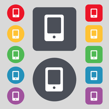 palmtop: Tablet icon sign. A set of 12 colored buttons. Flat design. Vector illustration