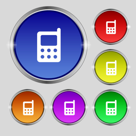 modern palmtop: mobile phone icon sign. Round symbol on bright colourful buttons. Vector illustration