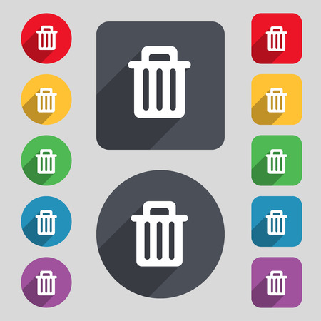 utilize: Recycle bin icon sign. A set of 12 colored buttons and a long shadow. Flat design. Vector illustration