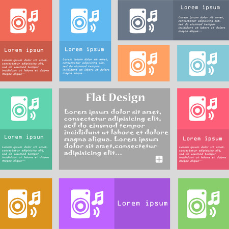 music column, disco, music, melody, speaker icon sign. Set of multicolored buttons with space for text. Vector illustration Illustration