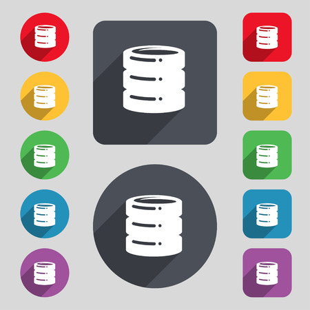 scsi: hard drive date base icon sign. A set of 12 colored buttons and a long shadow. Flat design. Vector illustration
