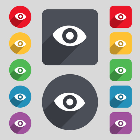 sixth sense: sixth sense, the eye icon sign. A set of 12 colored buttons and a long shadow. Flat design. Vector illustration Illustration