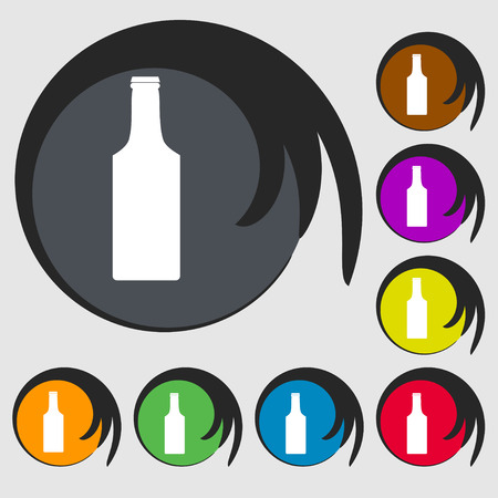 sign symbol: bottle icon sign. Symbol on eight colored buttons. Vector illustration