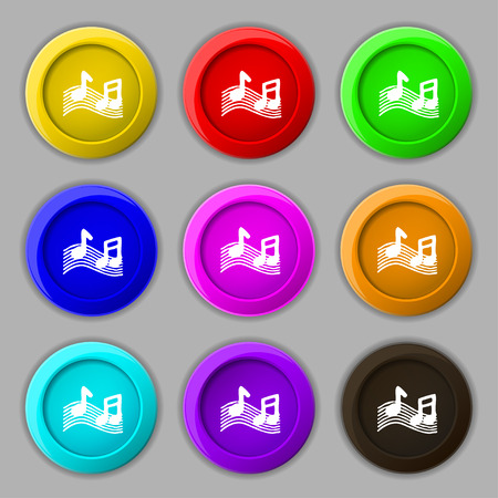 ringtone: musical note, music, ringtone icon sign. symbol on nine round colourful buttons. Vector illustration Illustration