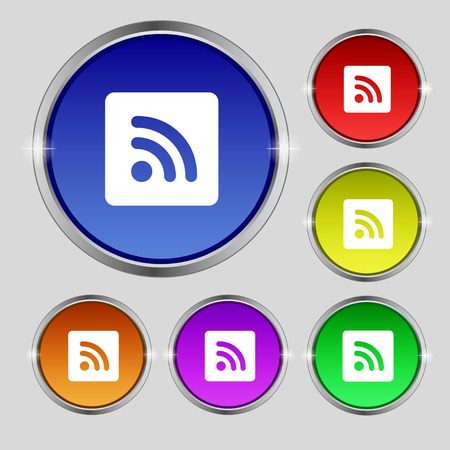 rss feed icon: RSS feed  icon sign. Round symbol on bright colourful buttons. Vector illustration