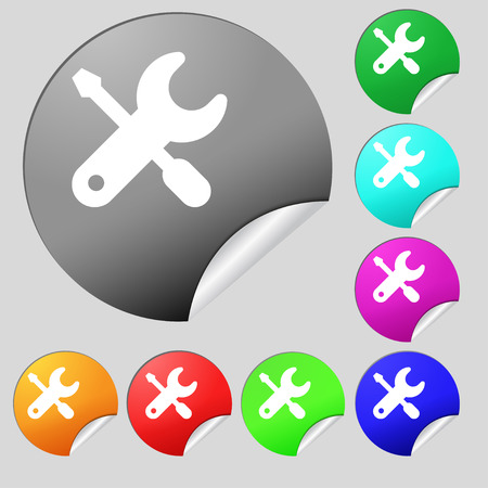 trackpad: screwdriver, key, settings icon sign. Set of eight multi colored round buttons, stickers. Vector illustration