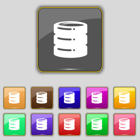 scsi: hard drive date base icon sign. Set with eleven colored buttons for your site. Vector illustration