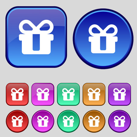 shopping questions: gift icon sign. A set of twelve vintage buttons for your design. Vector illustration