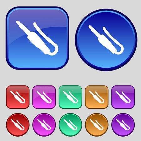 computer socket: plug, mini jack icon sign. A set of twelve vintage buttons for your design. Vector illustration Illustration