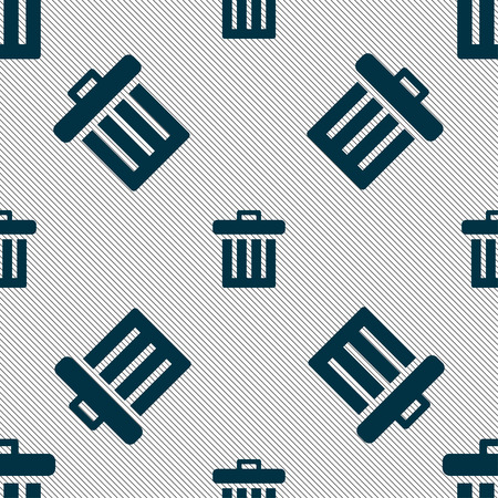 refuse bin: Recycle bin icon sign. Seamless pattern with geometric texture. Vector illustration