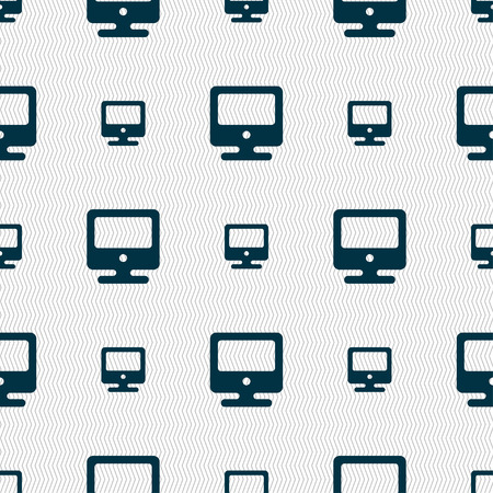 monitor icon sign. Seamless pattern with geometric texture. Vector illustration