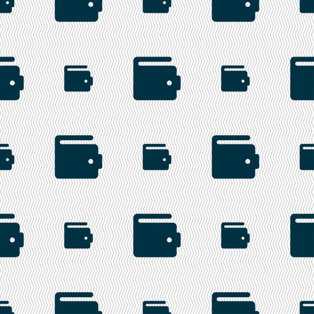 suede: purse icon sign. Seamless pattern with geometric texture. Vector illustration Illustration
