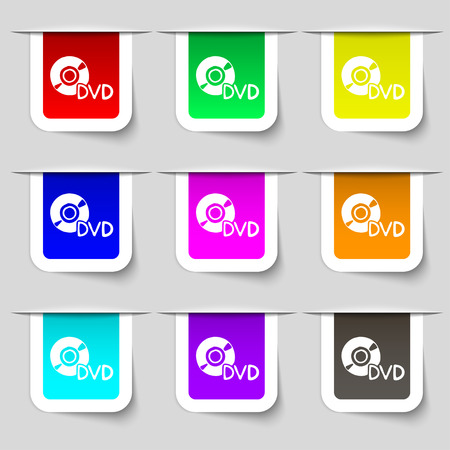 storage data product: dvd icon sign. Set of multicolored modern labels for your design. Vector illustration Illustration
