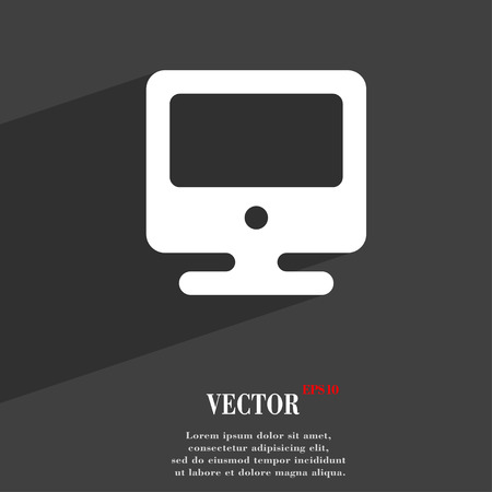 flatscreen: monitor icon symbol Flat modern web design with long shadow and space for your text. Vector illustration