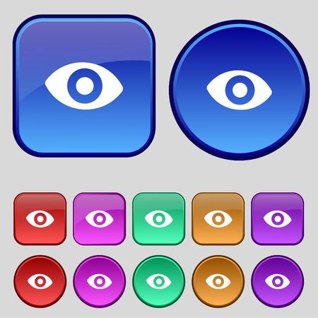 sense: sixth sense, the eye icon sign. A set of twelve vintage buttons for your design. Vector illustration Illustration