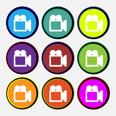 camcorder: camcorder icon sign. Nine multi colored round buttons. Vector illustration