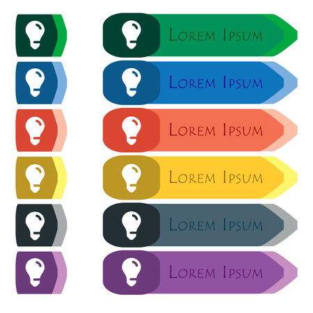 fluorescent lights: light bulb, idea icon sign. Set of colorful, bright long buttons with additional small modules. Flat design. Vector