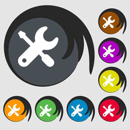 trackpad: screwdriver, key, settings icon sign. Symbol on eight colored buttons. Vector illustration Illustration