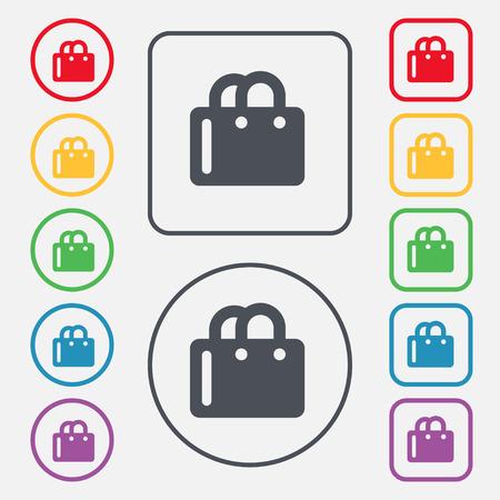 shopping bag icon: Einkaufstasche-Symbol-Zeichen. Symbol auf der Runde und eckige Buttons mit Rahmen. Vektor-Illustration Illustration