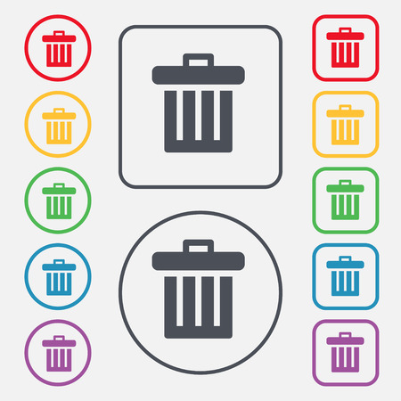 refuse bin: Recycle bin icon sign. symbol on the Round and square buttons with frame. Vector illustration
