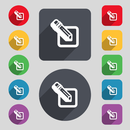 secretarial: pencil icon sign. A set of 12 colored buttons and a long shadow. Flat design. Vector illustration Illustration