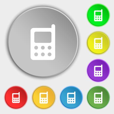 modern palmtop: mobile phone icon sign. Symbol on five flat buttons. Vector illustration Illustration