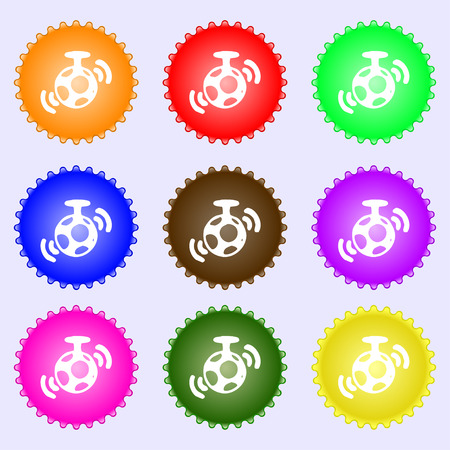 mirror ball: mirror ball disco icon sign. A set of nine different colored labels. Vector illustration Illustration
