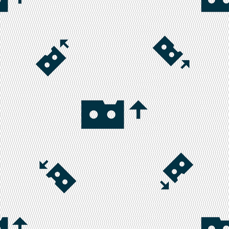 casette: audio cassette icon sign. Seamless pattern with geometric texture. Vector illustration Illustration
